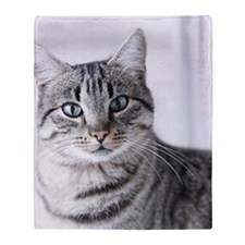 Tabby gray cat and green eyes. Throw Blanket