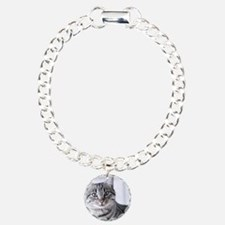 Tabby gray cat and green Bracelet