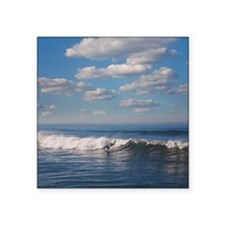 "Surfer riding big wave in O Square Sticker 3"" x 3"""