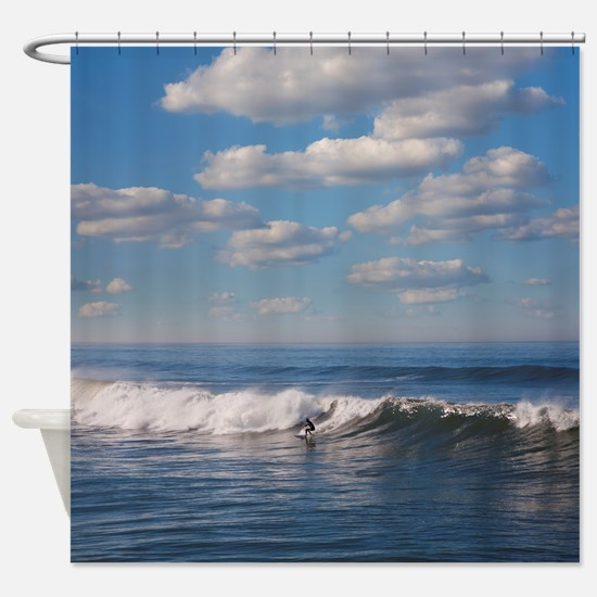 Surfer riding big wave in Ocean bea Shower Curtain