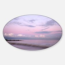 Serene coastal scene at dusk, Suffo Sticker (Oval)