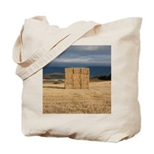 Square haystack during sunset, Navarre (N Tote Bag
