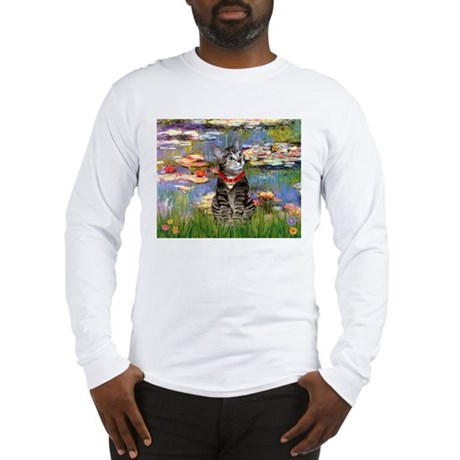 Tabby Tiger Cat in Lilies Long Sleeve T-Shirt