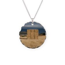 Square haystack during sunse Necklace Circle Charm