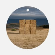 Square haystack during sunset, Nava Round Ornament