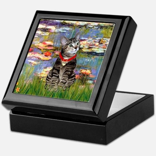 Tabby Tiger Cat in Lilies Keepsake Box