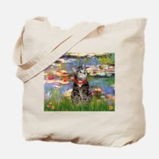 Tabby Tiger Cat in Lilies Tote Bag