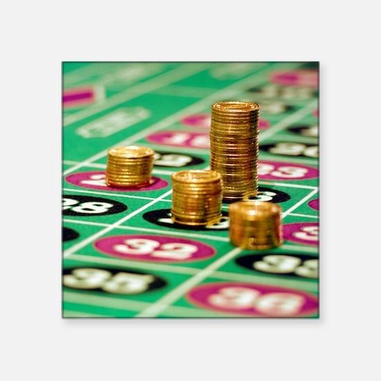 "Stacks of Poker Chips Square Sticker 3"" x 3"""