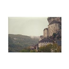 View of town and mountains in fog Rectangle Magnet