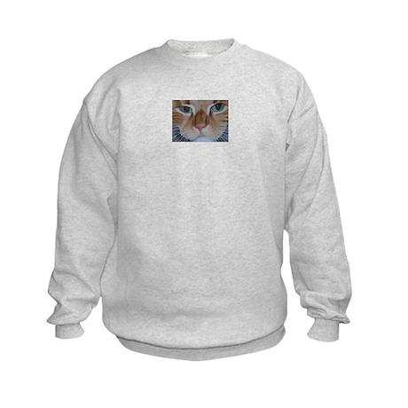 Tabby Cat Face Kids Sweatshirt