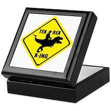 Cowboy On T-Rex - Tex Rex X-ING Sign Keepsake Box