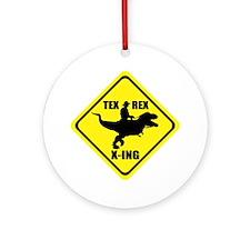 Cowboy On T-Rex - Tex Rex X-ING Sig Round Ornament
