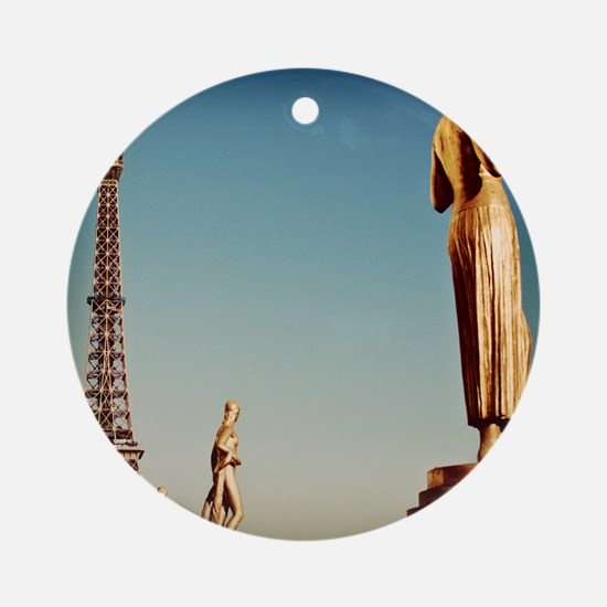 Statues of Trocadero with Eiffel To Round Ornament