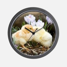 Two yellow baby chicks kissing in front Wall Clock