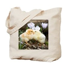 Two yellow baby chicks kissing in front o Tote Bag