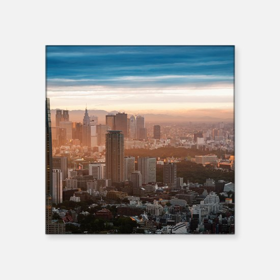 """Smog settles over the Tokyo Square Sticker 3"""" x 3"""""""