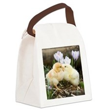 Two yellow baby chicks kissing in Canvas Lunch Bag