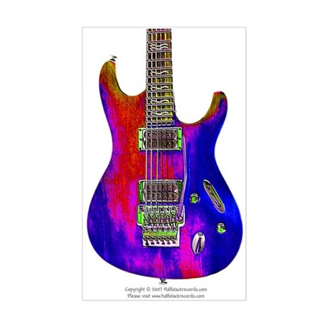"""Blue Flame"" Guitar Rectangle Sticker"