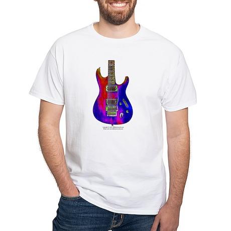 """""""Blue Flame"""" Guitar White T-Shirt"""