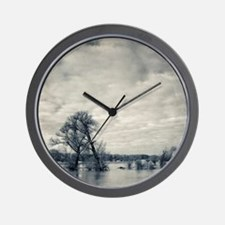 Trees on flooded banks of river Rhine,  Wall Clock