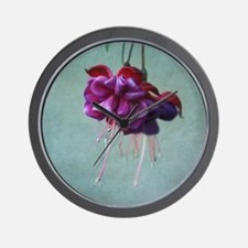 Vibrant purple and red fuschia flower. Wall Clock