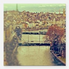 """View of Zurich over Limm Square Car Magnet 3"""" x 3"""""""