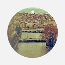 View of Zurich over Limmat river on Round Ornament