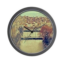 View of Zurich over Limmat river on a r Wall Clock