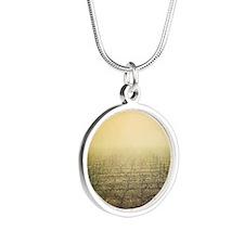 Vineyard in misty winter sun Silver Round Necklace