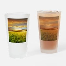 Wheat field with sunset, Spain Drinking Glass