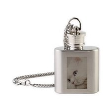 White long hair cat. Flask Necklace