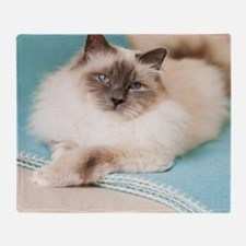 White sacred birman cat with blue ey Throw Blanket