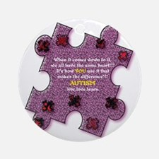 Autism Have A Heart Round Ornament