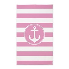 Pink Nautical Anchor Stripes 3'X5' Area Rug