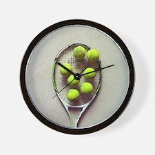 Tennis racquet and tennis balls. Wall Clock
