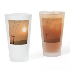 Telephone wires and pole with sunse Drinking Glass