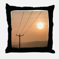 Telephone wires and pole with sunset  Throw Pillow
