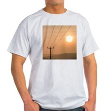 Telephone wires and pole with sunset T-Shirt
