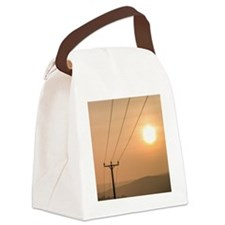 Telephone wires and pole with sun Canvas Lunch Bag