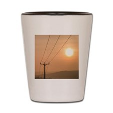 Telephone wires and pole with sunset in Shot Glass