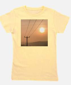 Telephone wires and pole with sunset in Girl's Tee