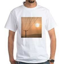 Telephone wires and pole with sun Shirt