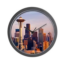The Space Needle at dusk in Seattle, Wa Wall Clock