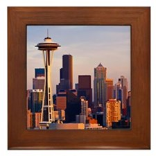 The Space Needle at dusk in Seattle, W Framed Tile