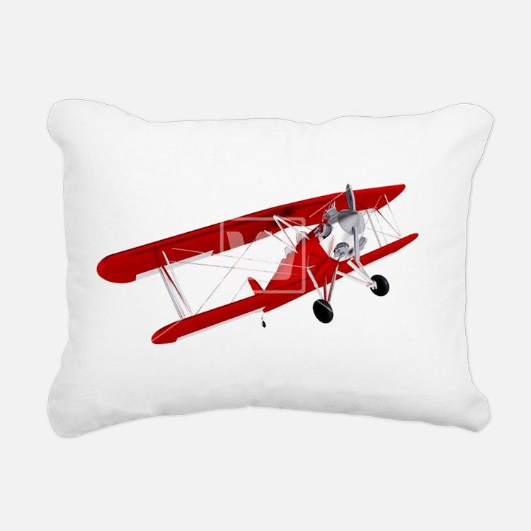 red biplane Rectangular Canvas Pillow