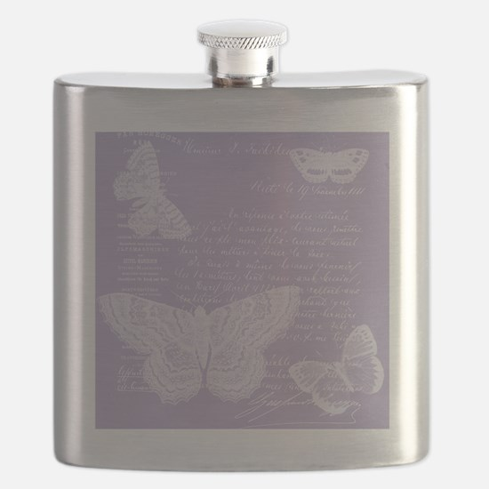 French Lilac Butterflies Flask