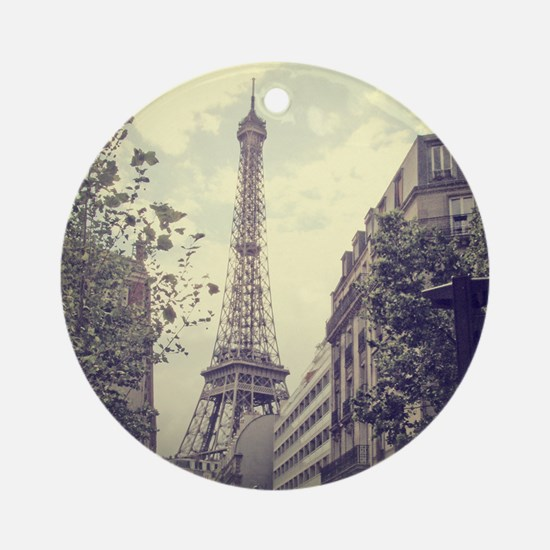 The Eiffel tower surrounded by the  Round Ornament
