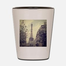 The Eiffel tower surrounded by the stre Shot Glass