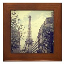 The Eiffel tower surrounded by the str Framed Tile
