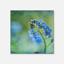"Tiny blue forget-me-not flo Square Sticker 3"" x 3"""